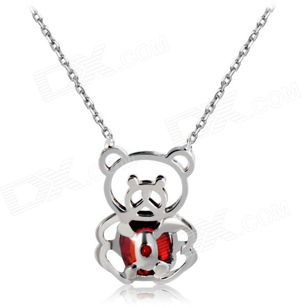 Xinguang Panda Shaped Red Zircon Inlaid Pendant Necklace - Silver