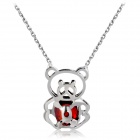 Xinguang Cute Little Panda Shaped Red Zircon Inlaid Pendant Necklace - Silver