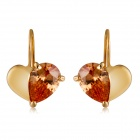 Xinguang Women's Double Heart-shaped Zircon Inlaid Earrings - Golden (Pair)