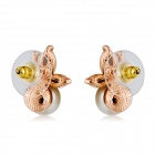 Butterfly Artificial Pearl + Alloy Ear Studs Earrings - Gold (Pair)