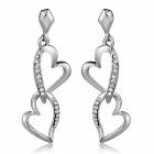 Xinguang Women's Double Heart Shaped Crystal Inlaid Earrings - Silver (Pair)