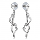 Xinguang Double Heart Shaped Crystal Inlaid Earrings - Silver (Pair)