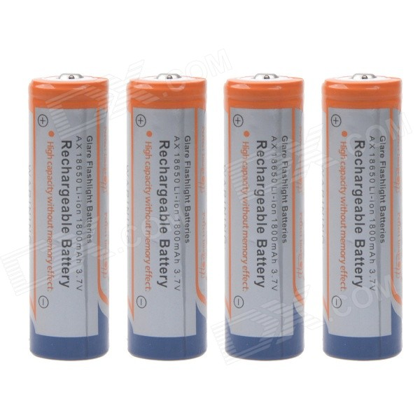 1200mAh 3.7V 18650 Rechargeable Lithium Ion Batteries - White (4PCS)