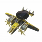 Foam Plate Solar Assembly Twin Engine Warning Machine Toy - Yellow + Multi-Colored