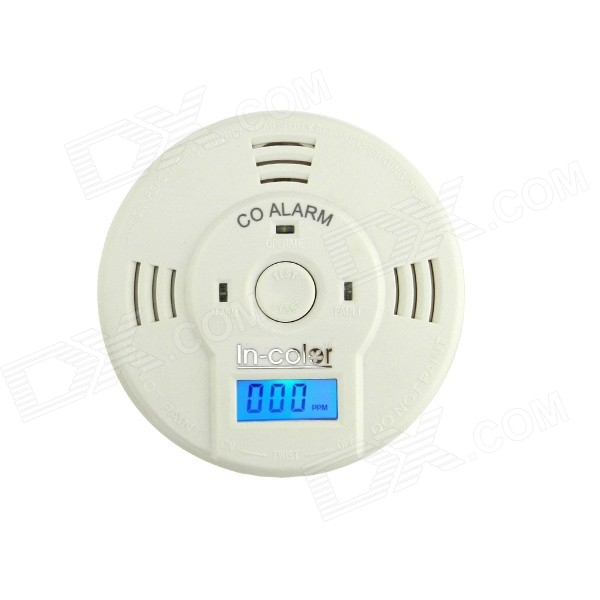 "IN-Color 1.2"" LCD Display Carbon Monoxide CO Detector - White (3 x AA)"