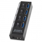 5Gbps USB 3.0 4-Port Hub w / indicador / Switches - preto