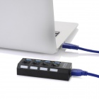 5Gbps USB 3.0 4-Port Hub w/ Indicator / Switches - Black