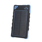 """8000mAh"" Solar Powered Dual USB Li-Polymer Battery Power Bank w/ LED / Flashlight - Black + Blue"