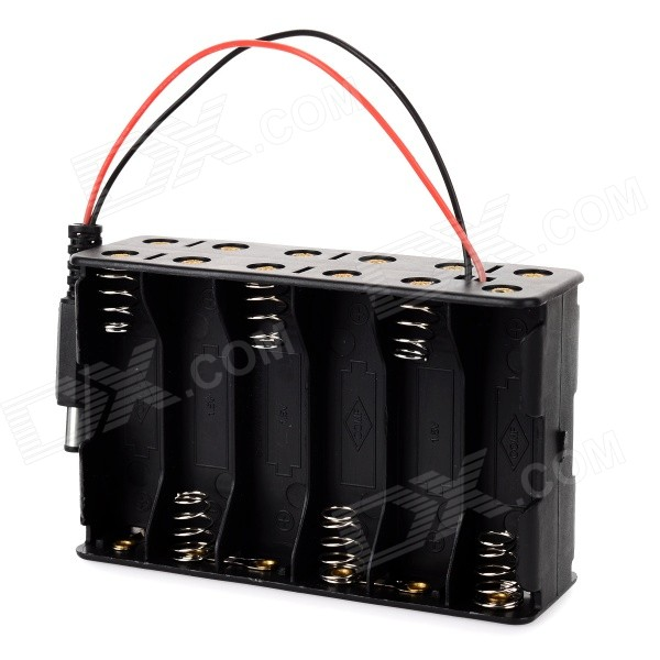 DIY 18V 12*AA Batteries Power Supply Box for Arduino - Black