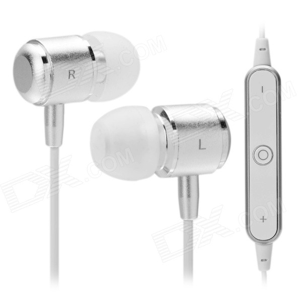 S-What S10 Bluetooth In-Ear Earphone w/ Mic for IPHONE - White +Silver
