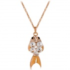 Stylish Cute Shiny Rhinestone Studded Carp Pendant Necklace - Rose Golden