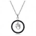 Stylish Cute Dolphin in Ring Pendant Necklace - Silver