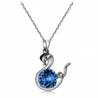 Stylish Blue Crystal Snake Pendant Necklace - Silver + Blue