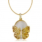 Sweet Butterfly Housing w/ Imitation Opal Stone Pendant Necklace - Golden