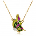 Fashionable Colorful Glass Butterfly Pendant Necklace - Golden + Multicolored
