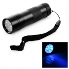 5W 400nm 12-LED 1-Mode Purple Light Flashlight Torch - Black (3 x AAA)