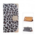 Smooth Leopard Stripe Electroplating PU Leather Case for Samsung Galaxy S6 - White + Black