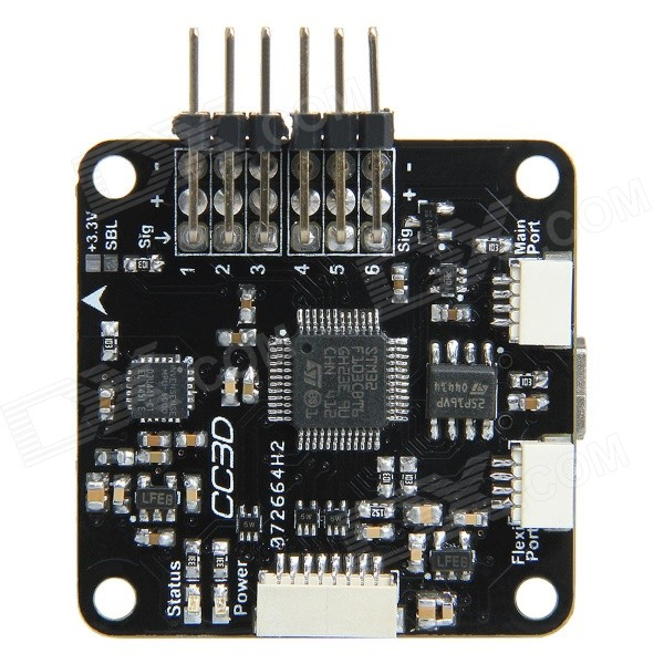 Geeetech CC3D Flight Controller Board STM32 32-Bit Openpilot for R/CBoards &amp; Shields<br>Form ColorBlackModelCC3DQuantity1 DX.PCM.Model.AttributeModel.UnitMaterialPCBChipsetSTM32English Manual / SpecYesDownload Link   http://www.geeetech.com/Documents/CC3D%20flight%20control%20board.pdfOther Features1. Powerful STM32 32-bit micro controller running at 72MHz, and can reach at 1. 25DMips/MHz when performance at 0 wait state memory access.<br>2. Integrated with MPU6000 (3-axis high-performance gyros and 3-axis high-performance accelerometer), with 16M IC<br>3. Support GPS and data transmission<br>4. Operating voltage: 5VPacking List1 x CC3D Flight Controller Board1 x 8-pin Cable (30cm)2 x 4-pin Cables (30cm)<br>