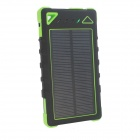 """8000mAh"" Solar Powered Dual USB Li-ion Polymer Battery Power Bank w/ LED / Flashlight - Black+Green"