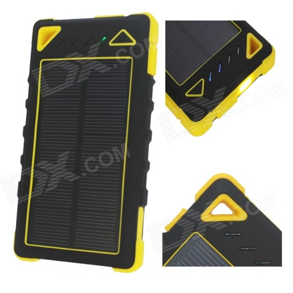 """8000mAh"" Dual USB Solar Power Bank w/ LED Flashlight - Black + Yellow"