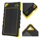 """8000mAh"" Solar Powered Dual USB Li-Polymer Battery Power Bank w/ LED / Flashlight - Black + Yellow"