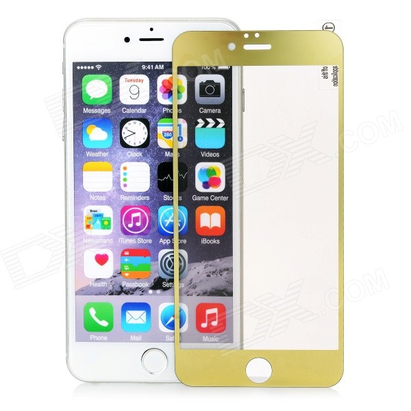 finesource galvaniseren gehard glas film voor IPHONE 6 plus - goud