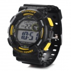 H9001 Men's Outdoor Sport Plastic Band Digital Wrist Watch - Black + Yellow
