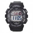 H9001 Men's Plastic Band Digital Wrist Sport Watch - Black