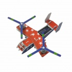 Solar Powered Dual-Engine Assembly Foam Transport Plane Toy - Red + Blue + Multi-Color