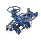 Solar Powered Dual-Engine Assembly Foam Science Fiction Airplane Toy - Blue + Yellow + Multi-Color