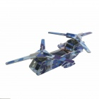 Solar Powered Dual-Engine Assembly Foam Transport Plane Toy - Blue Camouflage + Black