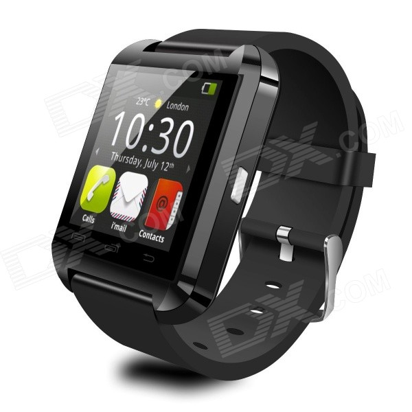 "Uwatch U8 1.48"" écran tactile montre intelligente w / bluetooth / podomètre-noir"