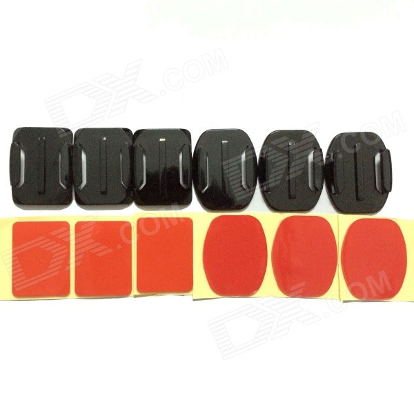 Square + Circular Bases Mounts for GoPro Hero 4/3+/3/2/1 - Black + Red