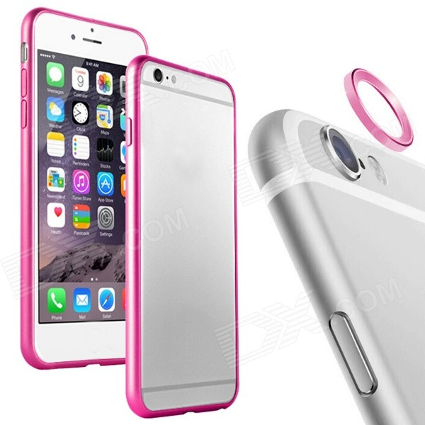Aluminum Alloy Bumper Frame + Lens Guard Ring for IPHONE 6 - Deep Pink