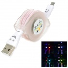 Micro USB to USB 2.0 Retractable Colorful Lighting Charging Cable for Samsung + More - White (95cm)