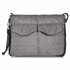 Thickened Double-Zippered Nylon Handbag Pouch for IPAD / IPOD / Cellphone / Cosmetics - Grey