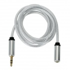 Grid Pattern 3.5mm Male to Female Audio Extension Cable - Silvery Grey (98cm)