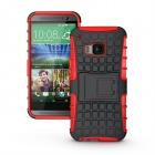 Tyre Pattern Protective TPU + PC Back Case Cover w/ Holder for HTC ONE M9 - Red + Black