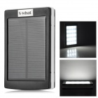 S-what LED Flashlight + 4500mAh Dual USB Solar Power Mobile Bank Bank - Black + White