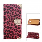 Smooth Leopard Stripe Electroplating PU Leather Case for Samsung Galaxy S6 - Red + Black