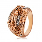 Women's Five Golden Flowers Pattern Crystals Inlaid Ring - Rose Gold (US Size 8)