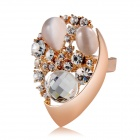 Women's Fashionable Shining Water Drop Design Crystal Inlaid Alloy Ring - Rose Gold (US Size: 8)