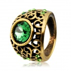 Women's Stylish Dragon Cave Shaped Green Crystals Inlaid Ring - Golden (US Size 8)