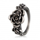Women's Retro 3 Flowers Style Alloy Ring - Antique Silver (US Size 8)