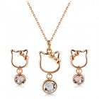 Women's Cat Shaped Crystals Inlaid Pendant Necklace - Rose Gold