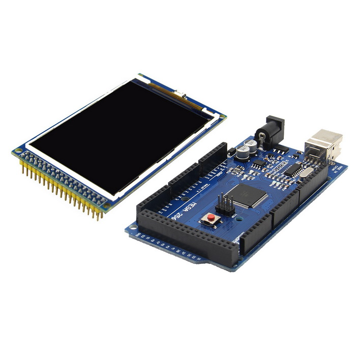 Arduino Mega 2560 R3 Module + 3.2 inch TFT LCD KitBoards &amp; Shields<br>Form  ColorNavy BlueModelMEGA2560Quantity1 DX.PCM.Model.AttributeModel.UnitMaterialPCB + electronic deviceEnglish Manual / SpecYesDownload Link   http://pan.baidu.com/s/1hqILMOOOther FeaturesArduino Mega is a ATmega2560 as the core of microcontroller development board, itself has 54 set of digital I/O input/output end (14 groups can do PWM output), 16 groups of simulated than the input, four groups of UART (hardware serial ports), use the 16 MHz crystal oscillator.<br>Glass Type: TFT IPS(Full-Angle); Display Resolution: 480 x 320 Pixels; Back light: 6 chip Highlight white LEDs; Control IC: HX8357B; Interface: 16Bit parallel interface; A product for Arduino that works with official Arduino boards.Packing List1 x Mega 2560 R31 x LCD Module<br>