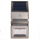 0.5W 50lm 6500K White Light Solar Powered Wall Light with PIR Sensor Body Induction Lamp - Silver