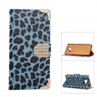 Smooth Leopard Stripe Electroplating PU Leather Case for Samsung Galaxy S6 - Blue + Black