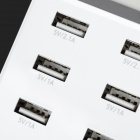 "Mini Smile US Plugs 1.8"" LCD USB 2.0 8-Port Power Charger para IPHONE / Samsung / LG + More - Branco"
