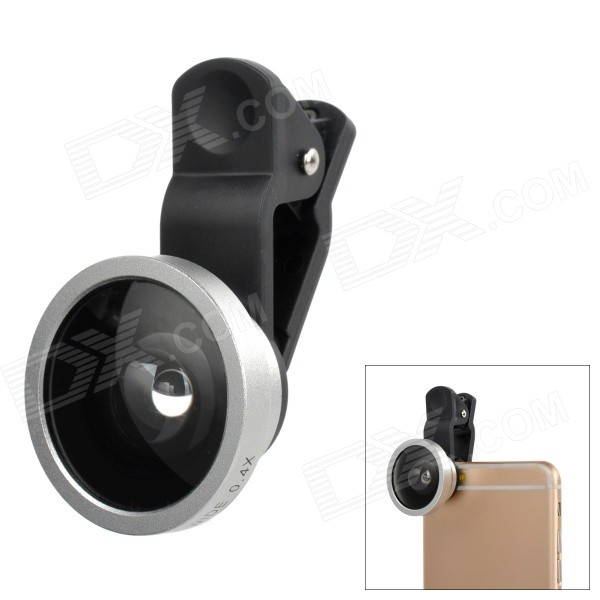 S-What Universal Selfie 0.4X Wide Angle Clip-on Lens w/ Cover for IPHONE / Samsung / Xiaomi - Silver